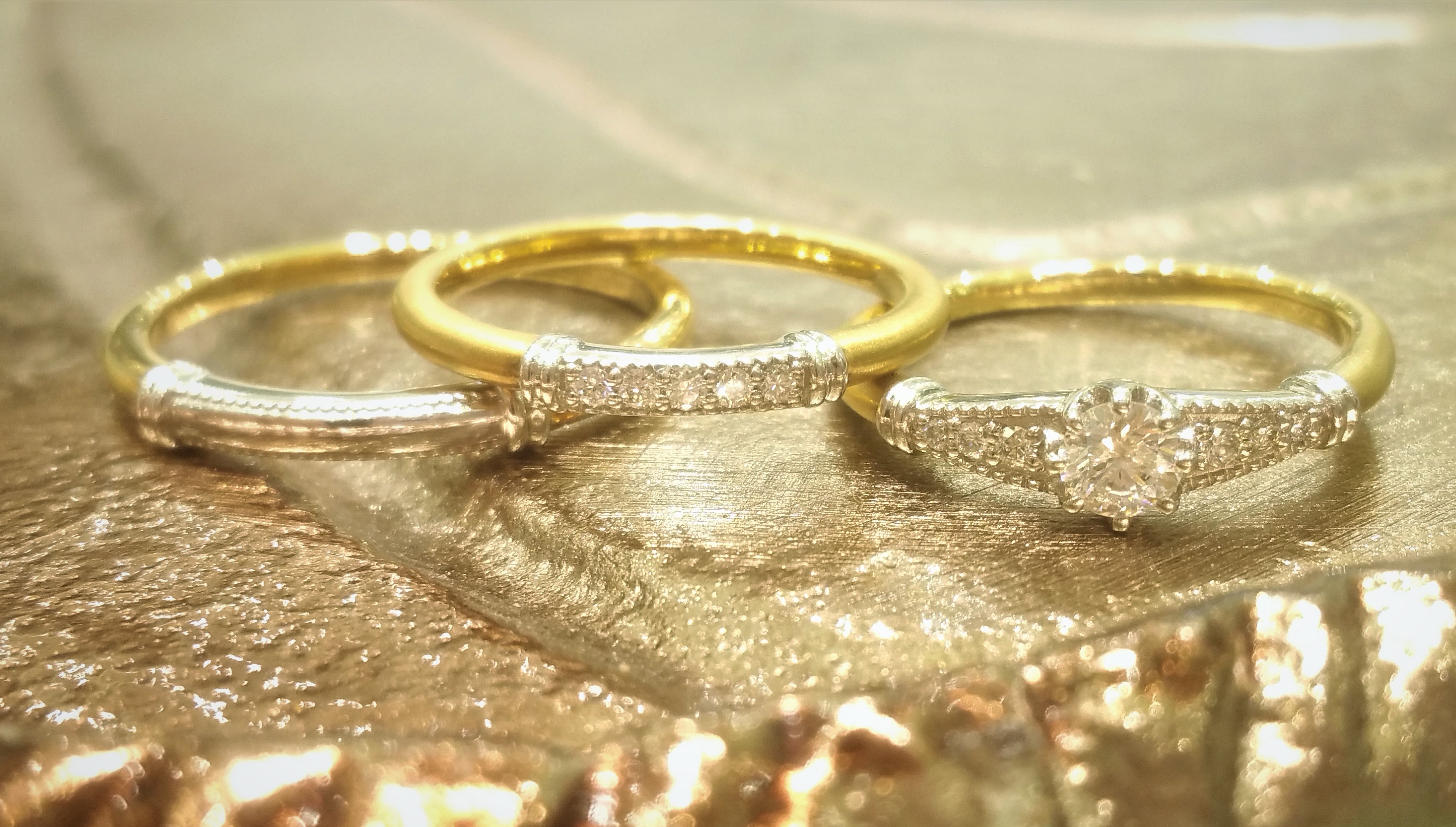 Rustic Gold Rings - VENUS TEARS - Wedding Bands / Engagement Ring