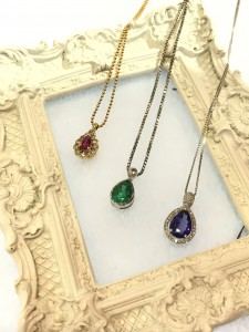 From Left: K18YG 0.6ct Ruby Necklace, PT900 1.51ct Emerald Necklace, K18WG 1.77ct Necklace