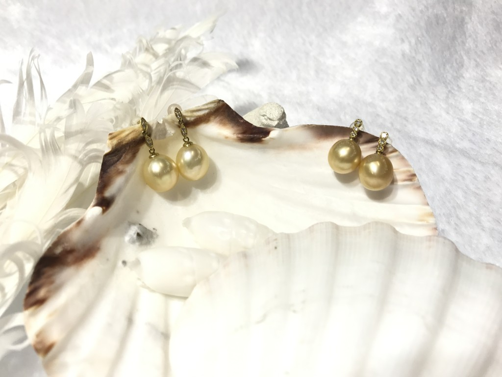 K18 Yellow Gold South Sea Pearl Earrings with Side Diamonds