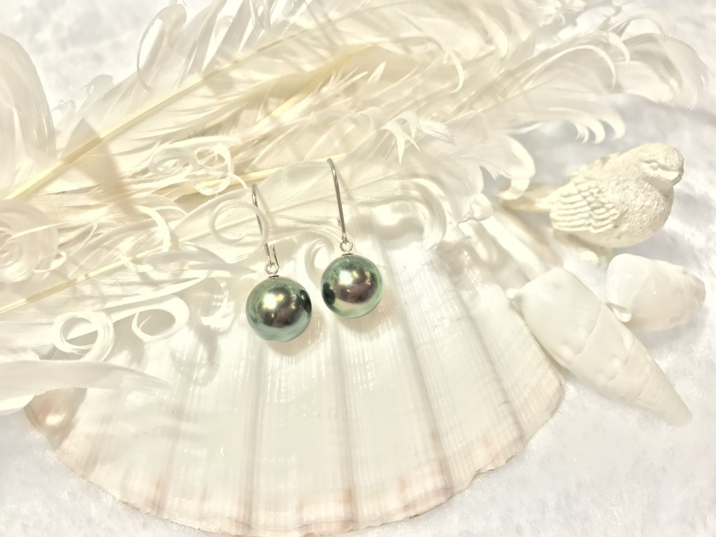 K14 White Gold Tathitian Pearl Earrings