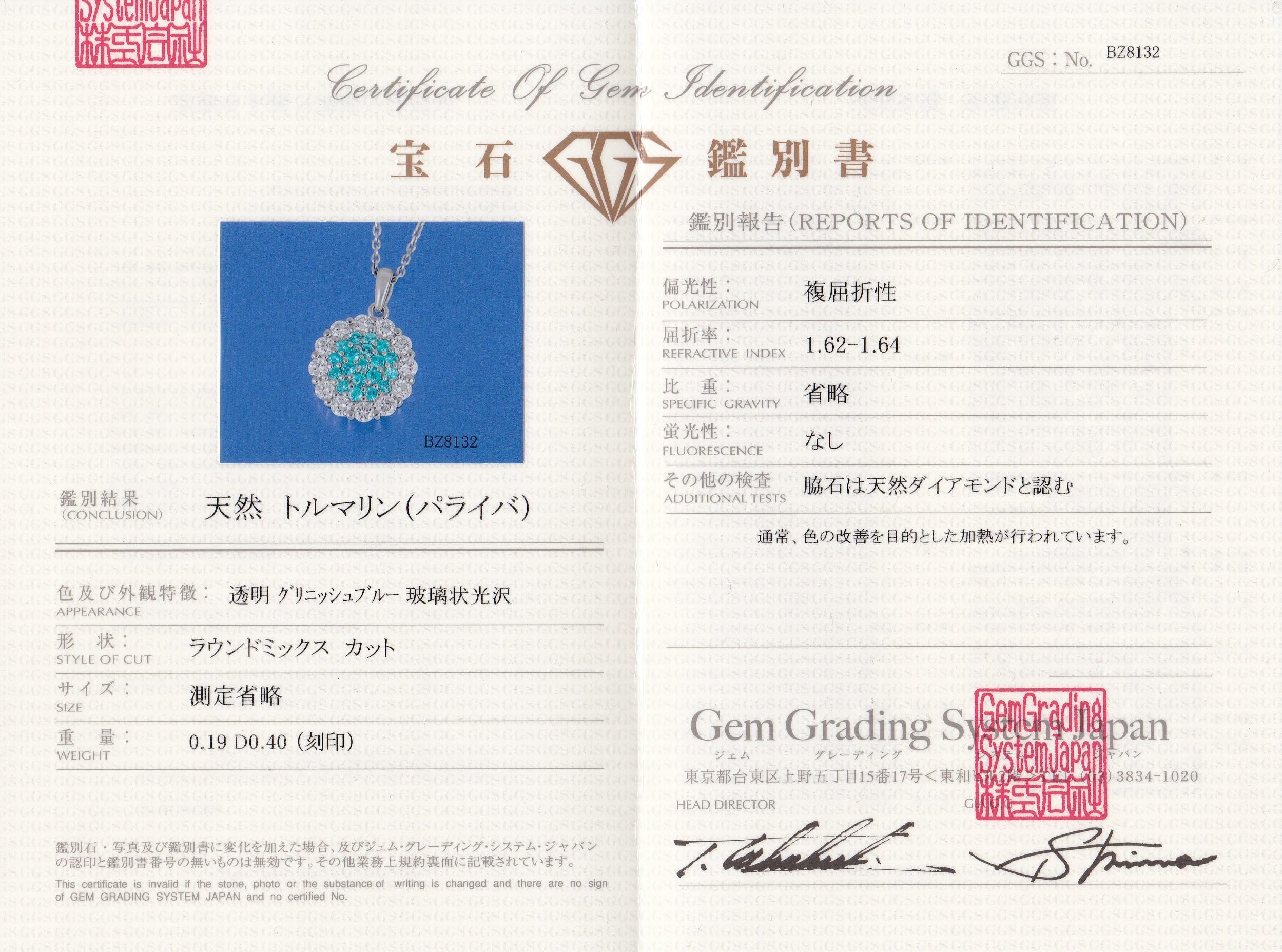 Paraiba Tourmaline Certificate