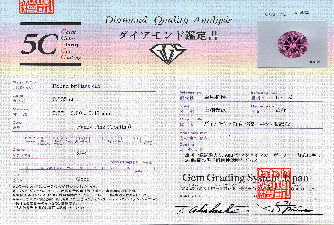 PINK DIAMOND CERT