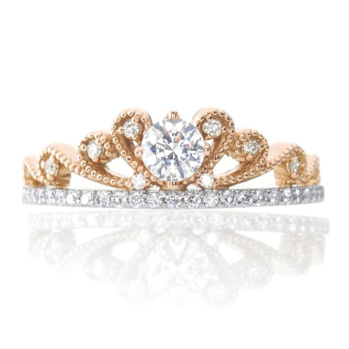 ring gold tiara genuine rings white hand diamond heart engagement rng statement crown
