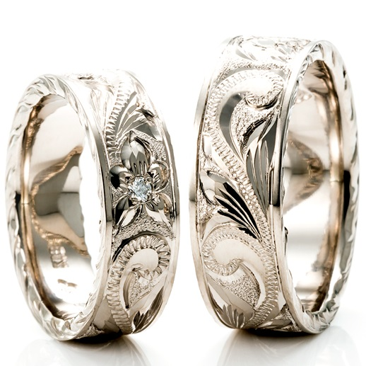 Hawaiian ring venus tears wedding band engagement ring for Hawaiian wedding ring sets