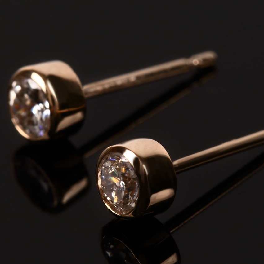 0.3ct Diamond Bezel Earrings