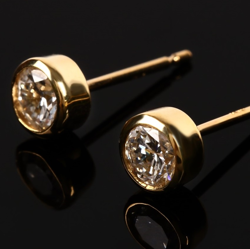 0.5ct Diamond Bezel Earrings